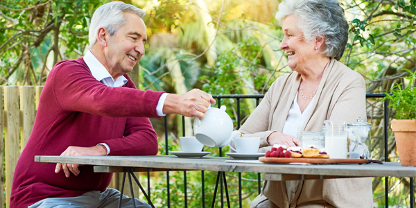 Two people having tea