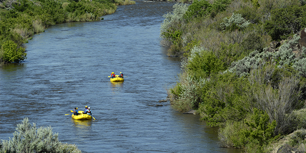 Two rafts on the Rio Grande.