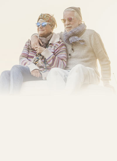 Two people in winter clothes
